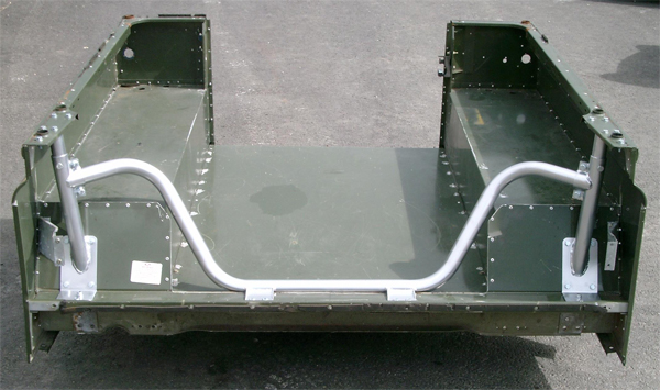 Land Rover Defender Bulkhead Removal Bar in display body.