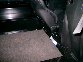 Land Rover Defender Bulkhead Removal Bar to suit Recaro seats - in vehicle