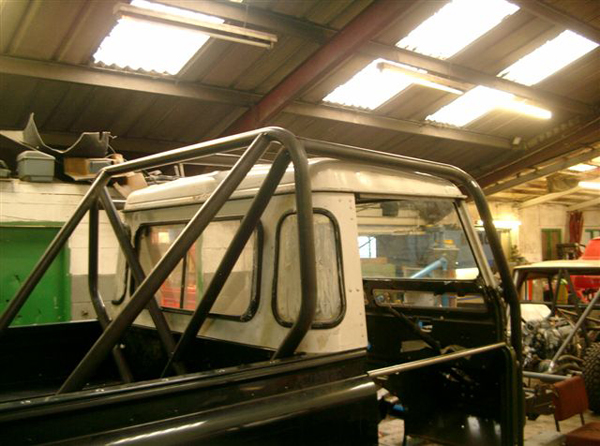 Land Rover Defender truck cab kit roll cage assembled
